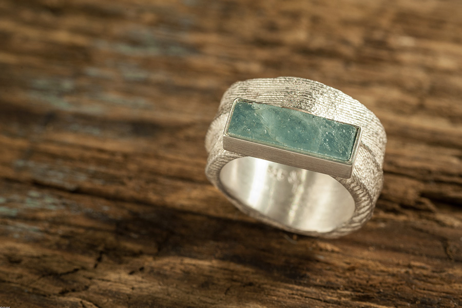 Aquamarin-Ring, Silberring, Natur-Aquamarin
