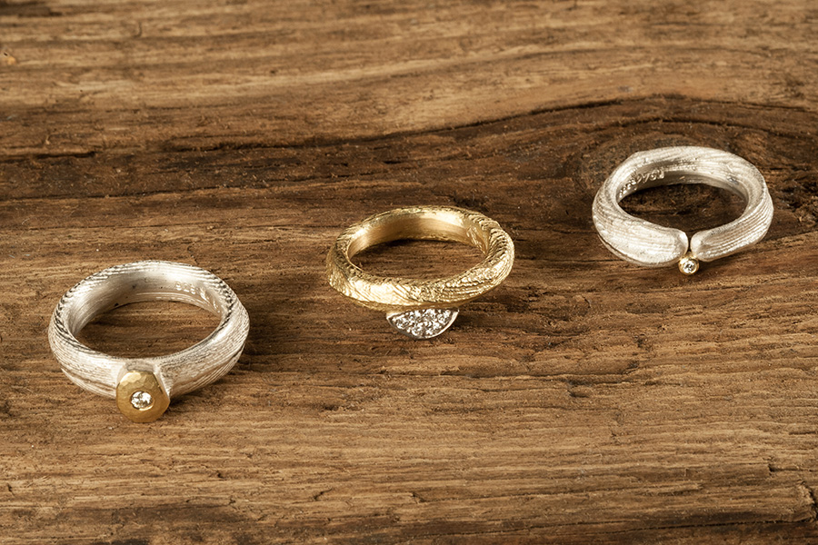 Brillantringe, Gold, Silber, Brillanten, Ossa-Sepia-Struktur
