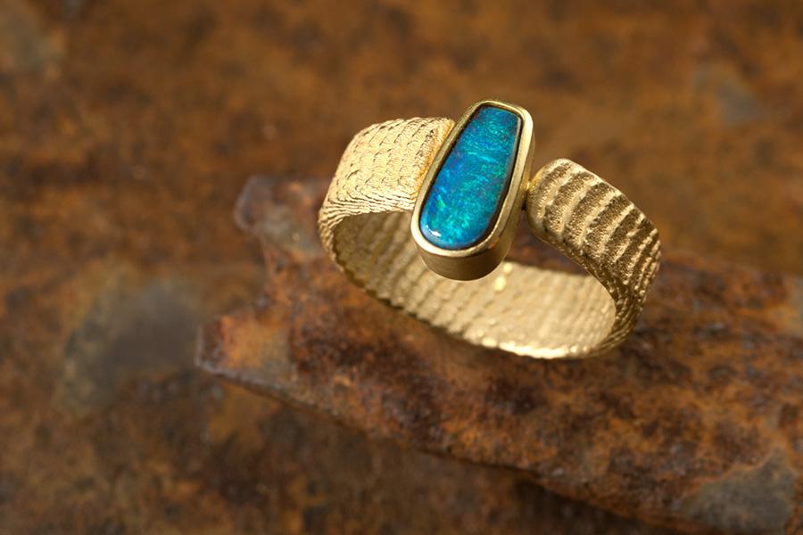 Goldring, Opal, blau-grüner Opal, Opalring